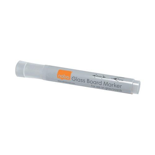 Nobo Glass Whiteboard Marker White (Pack of 4) 1905323