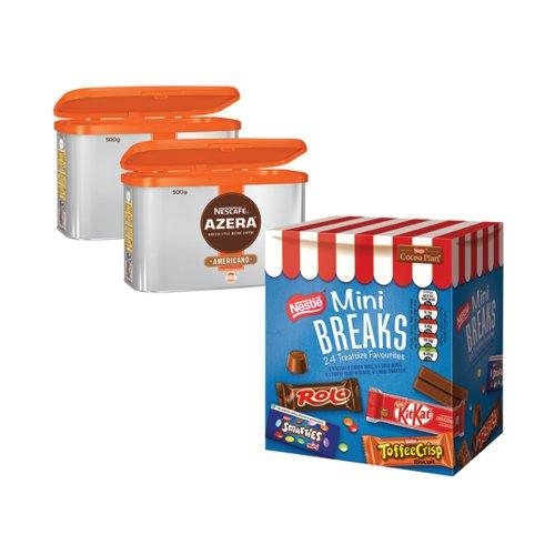 Nescafe Azera 2x500g FOC Mini Breaks Mixed Selection (Pack of 24) NL819843