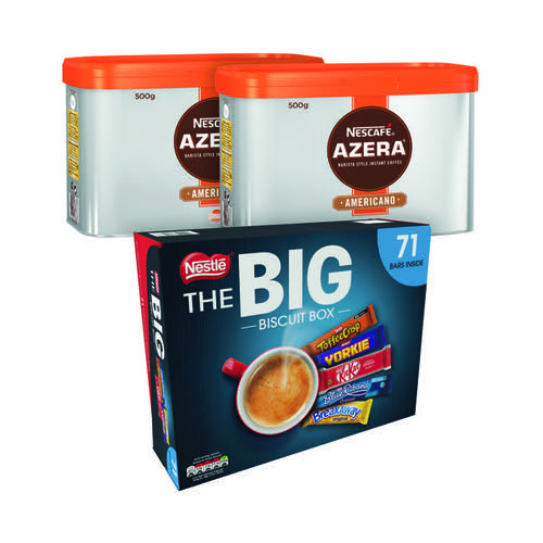 Nescafe Azera Americano 500g (Pack of 2) NL81950 FOC Nestle Big Biscuit Box 12391006