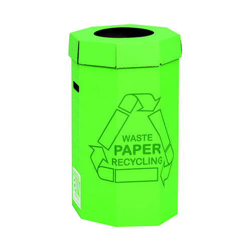 Acorn Cardboard Green Bins for Recycling Office Waste 60L 402565 [Pack 5]