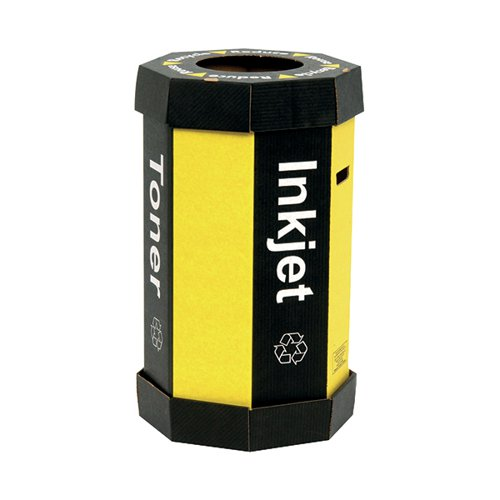 Acorn Printer Ink Cartridge Carboard Office Recycling Bin 60 Litre Black/Yellow (Pack of 5)