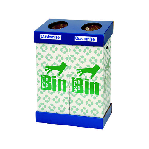 Acorn Large Office Cardboard Twin Recycling Bin Blue/Green (95 litres each bin)
