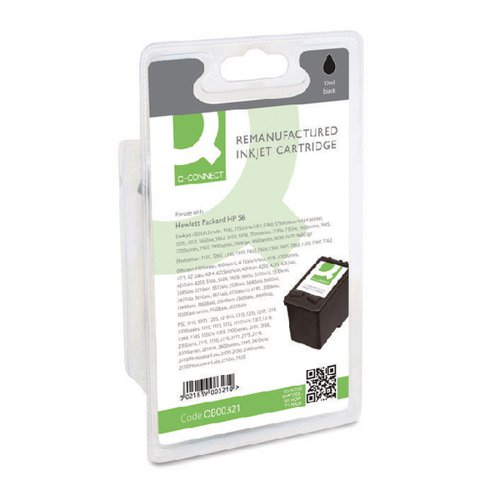 Q-Connect HP 56 Remanufactured Black Inkjet Cartridge C6656AE