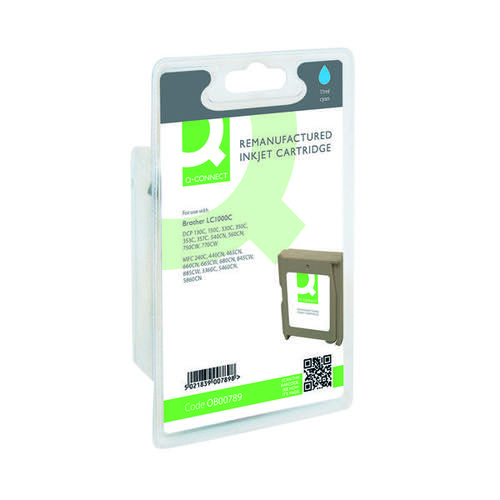Q-Connect Brother Remanufactured Cyan Inkjet Cartridge LC1000C