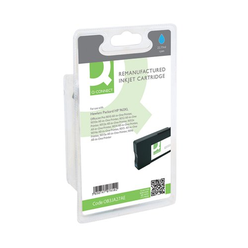 Q-Connect HP 963XL Cyan Inkjet Cartridge High Yield 24ml 1600 Pages 3JA27AE-COMP