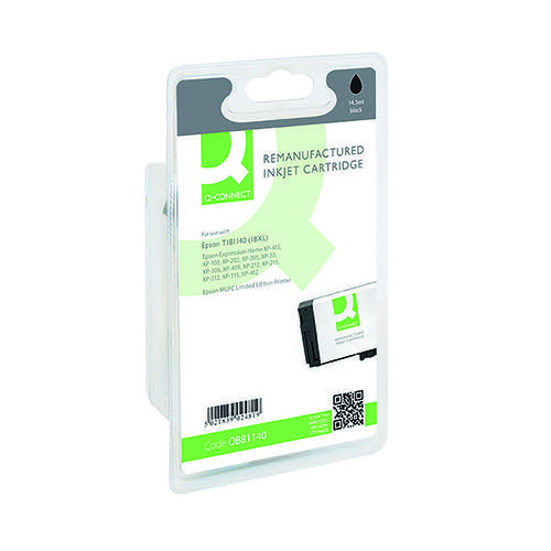 Q-Connect Epson 18XL Remanufactured Black Inkjet Cartridge High Yield C13T18114010 / T181140