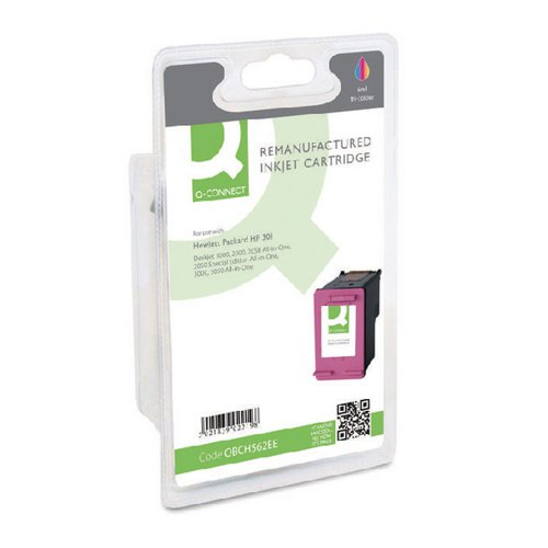 Q-Connect HP 301 Remanufactured Colour Inkjet Cartridge CH562EE Inkjet Cartridges OBCH562EE