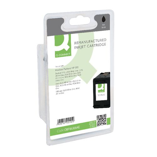 Q-Connect HP 302 Inkjet Cartridge Black F6U66AE-COMP
