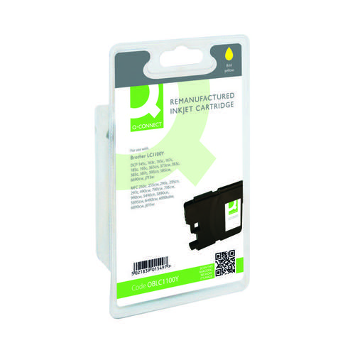 Q-Connect Brother Remanufactured Yellow Inkjet Cartridge LC1100Y Inkjet Cartridges OBLC1100Y
