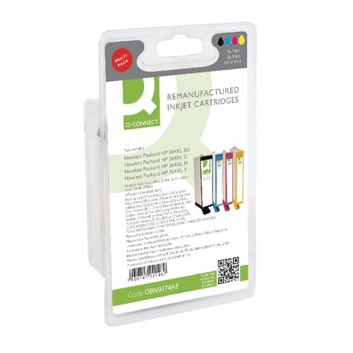 Q-Connect HP 364XL Ink Cartridge HY Colour (Pack of 4) N9J74AE-COMP