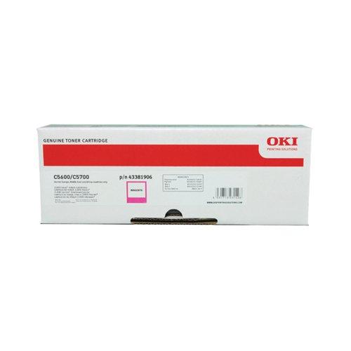Oki C5600/C5700 Magenta Toner Cartridge (Capacity: 2 000 pages) 43381906