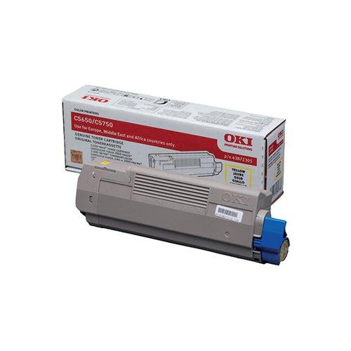 Oki Yellow Toner Cartridge (2000 Page Capacity) 43872305