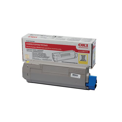 Oki Yellow Toner Cartridge (6000 Page Capacity) 43865721