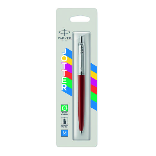 Parker Jotter Ballpoint Pen Medium Tip Red Barrel Blue Ink 2096857