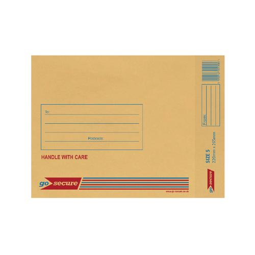 GoSecure Bubble Lined Envelope Size 5 220x265mm Gold (Pack of 20) PB02153