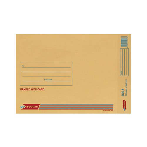 GoSecure Bubble Lined Envelope Size 8 270x360mm Gold (Pack of 20) PB02155