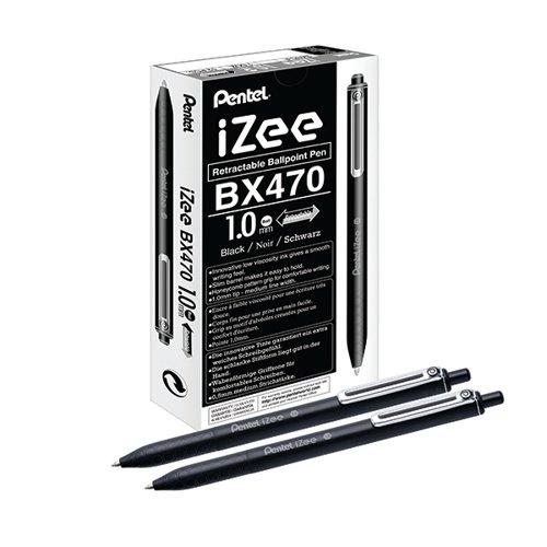 Pentel iZee Retractable Ballpoint Pen 1.0mm Black (Pack of 12) BX470-A