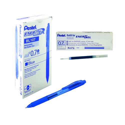 Pentel EnerGel X Retractable Gel Pen Medium Blue (Pack of 12) BL107/14-C