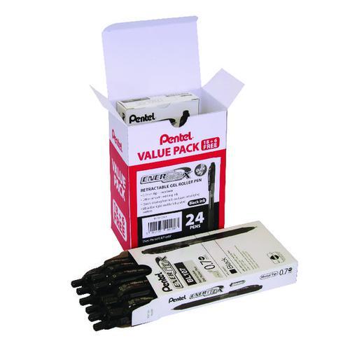 Pentel EnerGel X Gel Rollerball Pen Black (Pack of 24) BL107/24-A