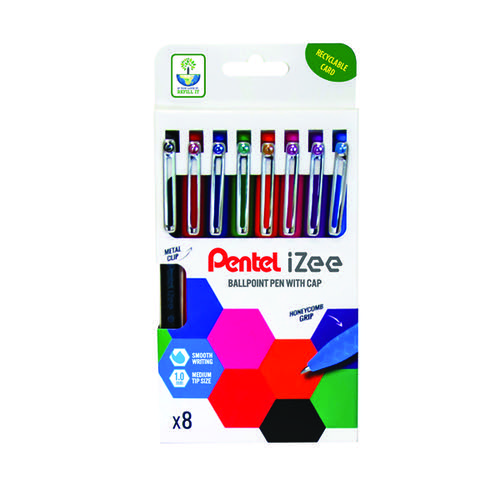 Pentel iZee Ballpoint Pen 1.0mm Assorted (Pack of 8) YBX460/8-M