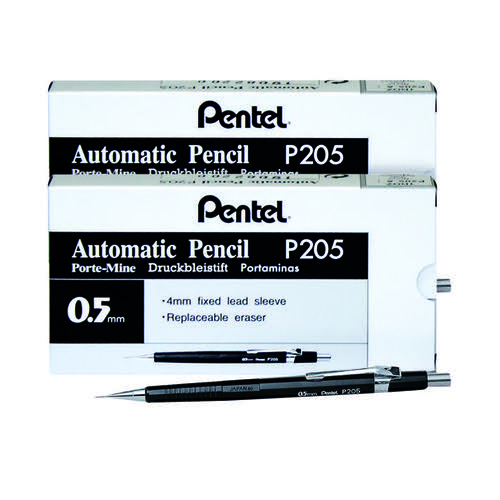 Pentel P205 Auto Pencil 0.5mm (Pack of 12) BOGOF