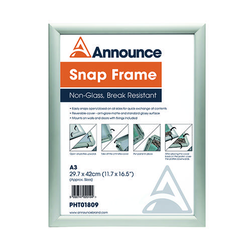 Announce A3 Snap Frame (25mm anodised aluminium frame Wall fixings included) PHT01809