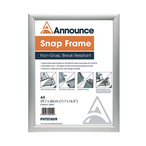 Announce A3 Snap Frame (25mm anodised aluminium frame, Wall fixings included) PHT01809
