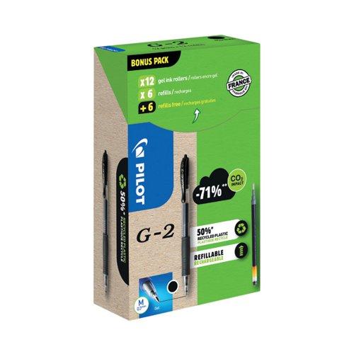 Pilot G-2 12 Gel Ink Rollerball Pens 12 Refills Medium Tip Black (Pack of 24) WLT556176