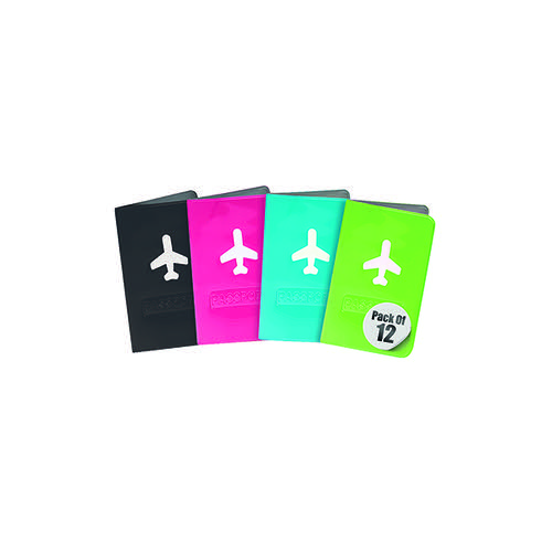 Travel Log Aeroplane Passport Covers Neon Assorted (Pack of 12) 783023