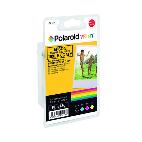 Polaroid Epson 16XL Remanufactured Inkjet Cartridge KCMY (Pack of 4) T163640-COMP PL