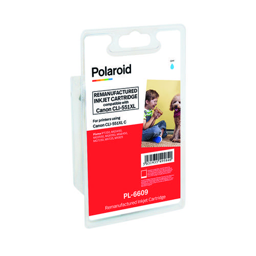 Polaroid Canon CLI-551XL Cyan Inkjet Cartridge 6444B001-COMP