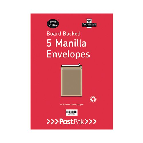 Envelopes C4 Peel & Seal Manilla 115Gsm Board Back (Pack of 5) POF27420