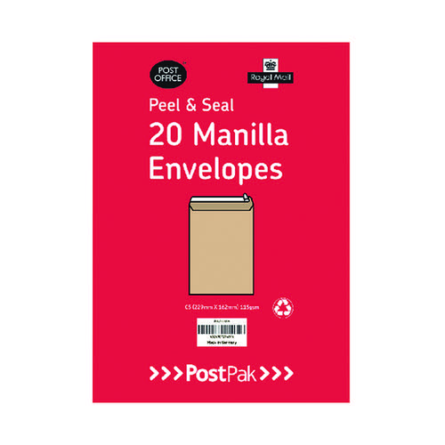 Postpak C4 Peel and Seal Manilla Envelopes (Pack of 200) 9730466