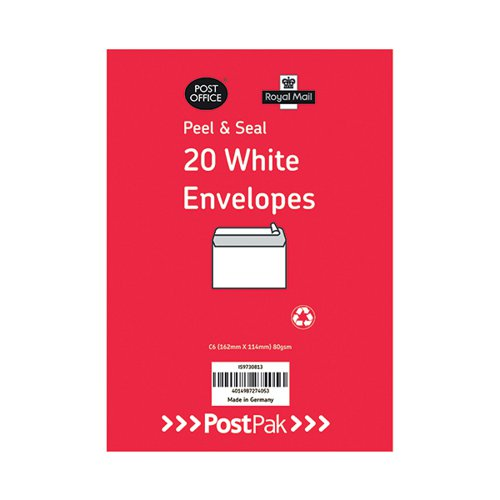 Envelopes C6 Peel & Seal White 80Gsm (Pack of 520) POF27425