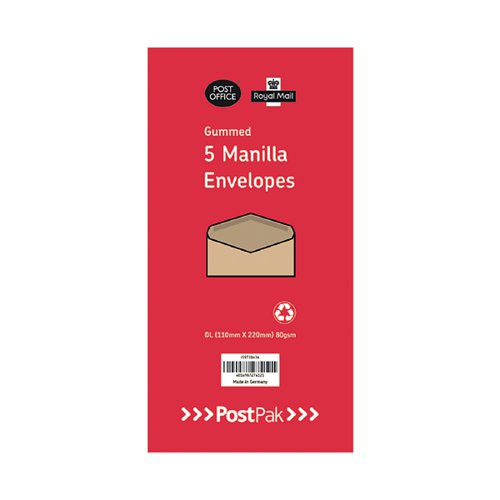 Envelopes Dl Gummed Manilla 70Gsm (Pack of 250) POF27432