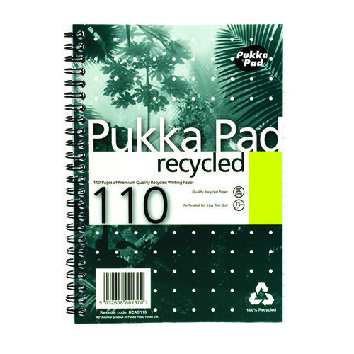 Pukka Pad Recycled Ruled Wirebound Notebook 110 Pages A5 (Pack of 3) RCA5110