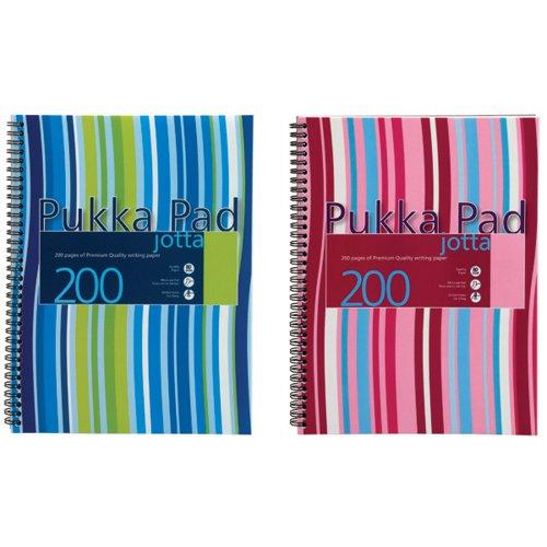 Pukka Pad Stripes Polypropylene Wirebound Jotta Notebook 200 Pages A4 Blue/Pink (Pack of 3) JP018
