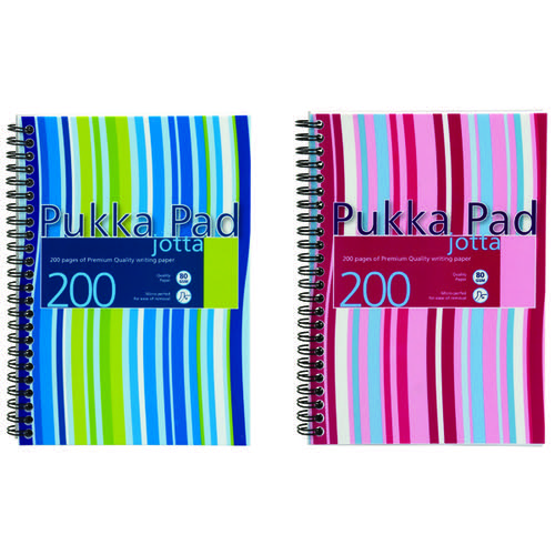 Pukka Pad Stripes Polypropylene Wirebound Jotta Notebook 200 Pages A5 Blue/Pink (Pack of 3) JP021