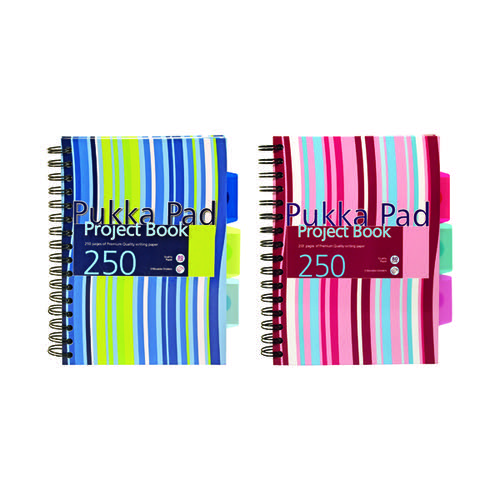 Pukka Pad Stripes Wirebound Hardback Project Notebook 250 Pages A5 Blue/Pink (Pack of 3) CBPROBA5