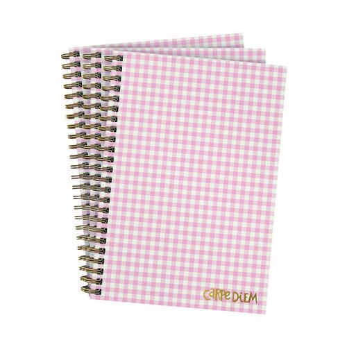 Pukka Ballerina Hardcover Notebook B5 Pink Check (Pack of 3) 9377-CD