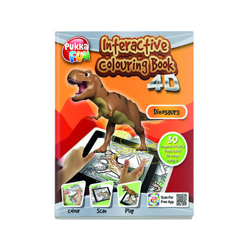Pukka Fun Interactive Colouring Book 4D Dinosaurs 8421-FUN