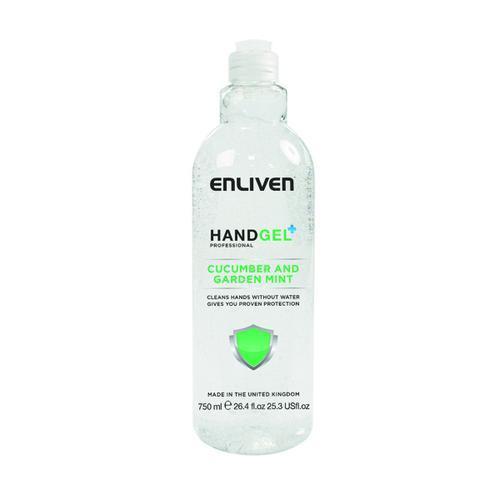 Enliven Hand Sanitiser Gel 60% Alcohol 750ml Cucumber/Mint Multi Pack of 6