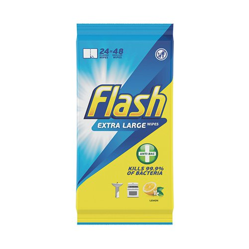 Flash Anti-Bacterial Wipes XL Lemon 24 sheets (Pack of 8) C002500
