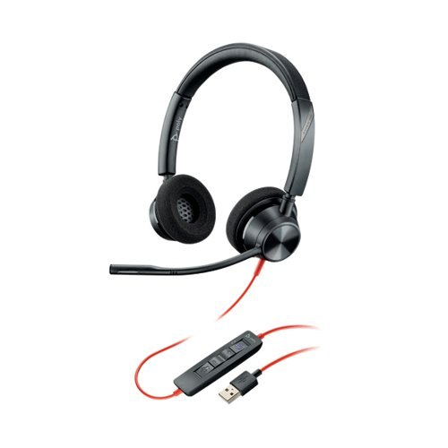 Poly Blackwire 3320 BW3320-M Headset USB-A Corded Black 214012-01 by Poly, PY16769