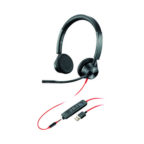 Poly Blackwire 3325 BW3325-M Headset USB-A Corded Black 214016-01 by Poly, PY16778