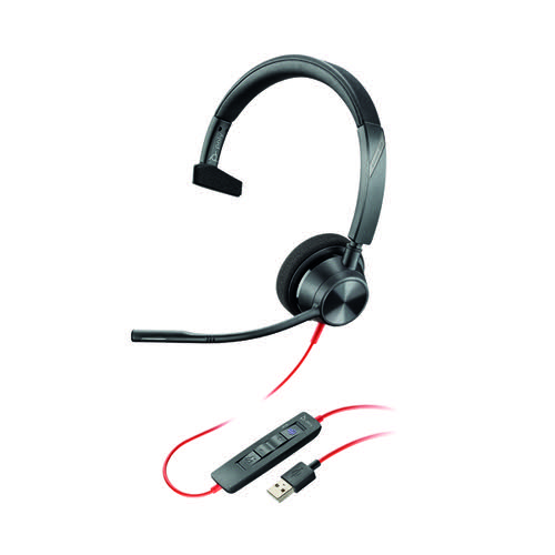 Poly Blackwire 3310 BW3310-M Headset USB-A Corded Black 212703-01