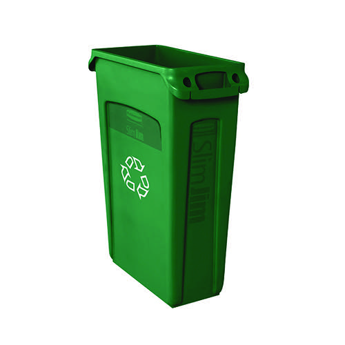 Rubbermaid Slim Jim Venting Channel Container 87 Litre Green 3540-07-GRN