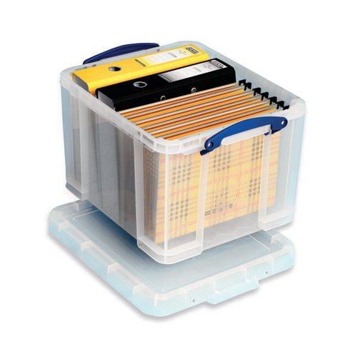 Really Useful 35L Plastic Storage Box With Lid W480xD390xH310mm Clear 35C