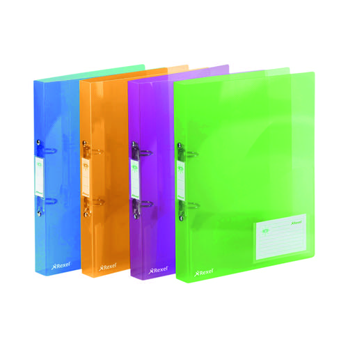Rexel Ice 2 Ring Binder 25mm Polypropylene A4 Assorted (Pack of 10) 2102044