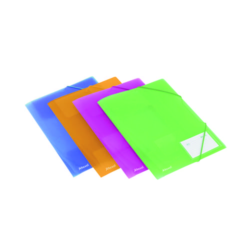 Rexel Ice Elasticated 4 Fold File Polypropylene A4 Assorted (Pack of 4) 2102050